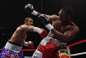 David Haye (left) in action with Audley Harrison during the WBA World Heavyweight Championship Title fight at the MEN Arena, Manchester. PRESS ASSOCIATION Photo. Picture date: Saturday November 13, 2010. Photo credit should read: Dave Thompson/PA Wire.