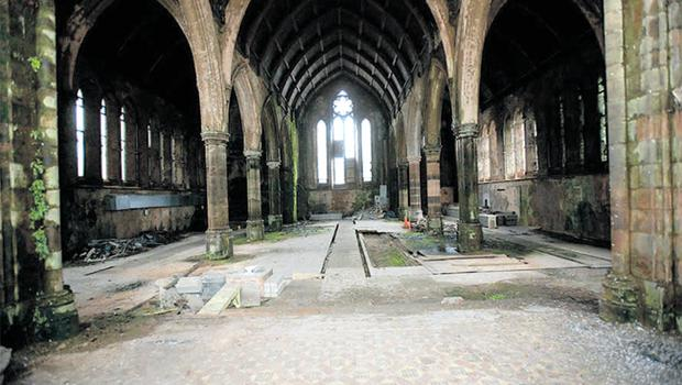 Falling down: Carlisle Memorial Methodist Church has been derelict for nearly 20 years. Just to maintain it in this condition will cost some £700,000, it's been estimated