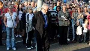 The vigil on the Shankill Road in west Belfast for 43-year-old Bobby Moffett who was shot and killed.