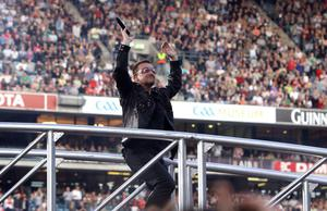 Bono gets the crowd going in Croke Park, Dublin
