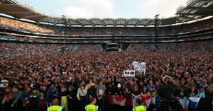 A sold out crowd packs into Croke Park, Dublin to watch U2 perform the first of three concerts.