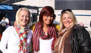 """Omagh girls Siobhan O'Neill, Laura Rodgers and Eimear McCollum, who travelled down to see Irish super group U2 perform live at Croke Park, Dublin for the 1st night of their """"360 degree"""" world tour."""