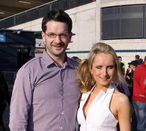 """Kilrea man Dermot Hegarty with girlfriend Asling McGill from Londonderry, who travelled down to see Irish super group U2 perform live at Croke Park, Dublin for the 1st night of their """"360 degree"""" world tour."""