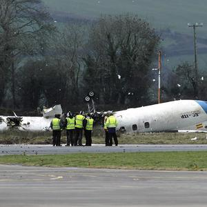The scene at Cork Airport where six people died and six others were injured after a plane crashed in fog