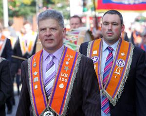 Two bretheren from LOL 120 on the march through Lurgan. RicPics. 12/7/12.