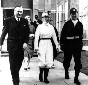 File photo dated 01/07/1958 of Queen Elizabeth II at Rothes Colliery, Fifeshire, where she made her first descent of a coal mine. She spent half and hour underground. PRESS ASSOCIATION Photo.