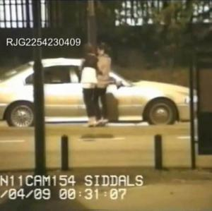 CCTV footage showing a car containing members of a gang of men talking to two girls. The gang has been convicted of a catalogue of offences against vulnerable girls