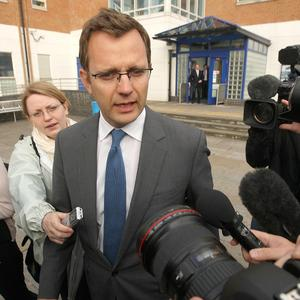 Former Downing Street communication chief Andy Coulson leaves Lewisham police station in south London