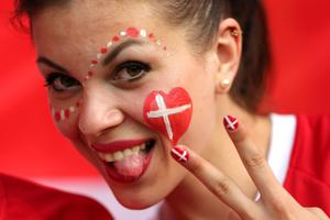 KHARKOV, UKRAINE - JUNE 09:  A Danish fan soaks up the atmopshere ahead of the UEFA EURO 2012 group B match between Netherlands and Denmark at Metalist Stadium on June 9, 2012 in Kharkov, Ukraine.  (Photo by Ian Walton/Getty Images)