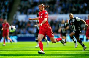 NEWCASTLE UPON TYNE, ENGLAND - APRIL 01:  Liverpool striker Andy Carroll in action during the Barclays Premier League match between Newcastle United and Liverpool at Sports Direct Arena on April 1, 2012 in Newcastle upon Tyne, England.  (Photo by Stu Forster/Getty Images)