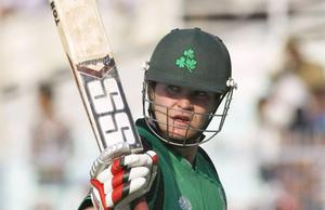 Paul Stirling acknowledges the crowd after smashing a century for Ireland against the Netherlands