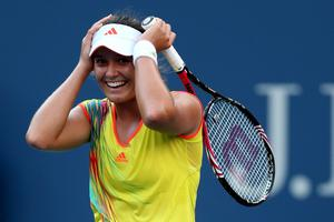 NEW YORK, NY - AUGUST 29:  Laura Robson of Great Britain celebrates match point against Kim Clijsters of Belgium after their women's singles second round match on Day Three of the 2012 US Open at USTA Billie Jean King National Tennis Center on August 29, 2012 in the Flushing neigborhood of the Queens borough of New York City.  (Photo by Matthew Stockman/Getty Images)