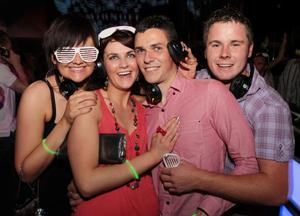 Nicola Savage, Lorraine Savage, Darren Murphy and Thomas Murphy at the 'Smirnoff Be There' Silent Disco in the Bank, Newry.