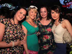 Fiona McCallister, Caroline Simpson, Catherine Byrne and Ashling O'Hare at the 'Smirnoff Be There' Silent Disco in the Bank, Newry.