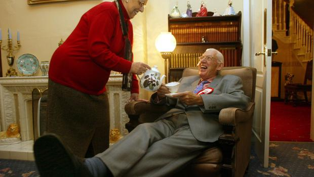 Ian Paisley leader of the Democratic Unionist Party,with wife Eileen, relaxes at home with a cup of tea, after his anti agreement party, out polled ,David Trimbles Ulster Unionist Party,Friday 28th November 2003,in the Nortern Ireland Assembley electionsl.PA:Paul Faith