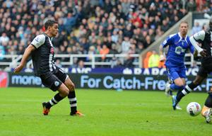 NEWCASTLE UPON TYNE, ENGLAND - APRIL 09: Hatem Ben Arfa of Newcastle scores to make it 1-0 during the Barclays Premier League match between Newcastle United and Bolton Wanderers at the Sports Direct Arena on April 9, 2012 in Newcastle upon Tyne, England.  (Photo by Michael Regan/Getty Images)