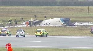 Scene of the crash this morning at Cork Airport in which six people are believed to have died