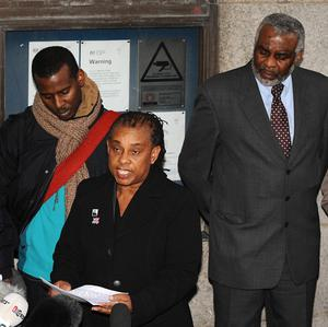 Stephen Lawrence's mother Doreen speaks to the media outside the Old Bailey following the conviction of Gary Dobson and David Norris