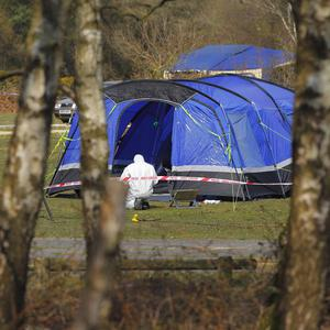 Hampshire Police forensic officers the tent at the Holmsley campsite near Bransgore in the New Forest after the death of Isabelle Harris