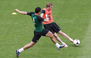 Republic of Ireland's James McClean and Stephen Kelly during a training session at the Municipal Stadium, Gdynia, Poland