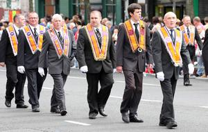 12/7/11 Mandatory Credit Darren Kidd/Presseye.com Orangemen take part in Twelfth of July parades as they make their way to the field at Shaws Bridge, Belfast.The parade makes its way towards the Lisburn Rd, LOL 275