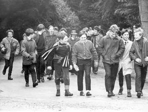 Some of the 400 Campbell College pupils who took part in a sponsored walk from Belfast to Holywood. The walk was to help raise funds for the Social Service Group, an organisation of schoolboys which helps old people. Approximately £1,200 was raised by this effort, 1970.