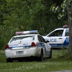 Police vehicles parked at a Montreal park where a head was found (AP/The Canadian Press)