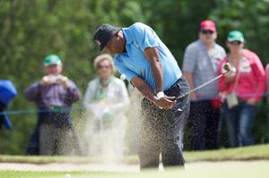 Hollywood actor Samuel L. Jackson plays during the first round of The JP McManus Invitational Pro-Am event at the Adare Manor Hotel and Golf Resort on July 5, 2010 in Limerick
