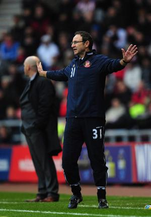SUNDERLAND, ENGLAND - DECEMBER 11:  New Sundeland manager Martin O' Neill reacts during the Barclays premier league game between Sunderland and Blackburn Rovers at Stadium of Light on December 11, 2011 in Sunderland, England.  (Photo by Stu Forster/Getty Images)