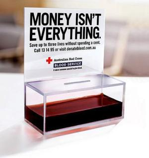 M&C Saatchi is responsible for this campaign for the Australian Red Cross aimed at promoting blood donation. The gruesome image of a blood filled donation pot certainly provokes a reaction.