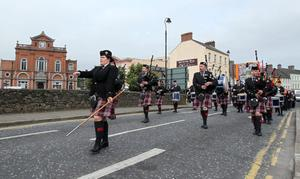 Altnaveigh Memorial Pipe Band parade through the streets of Newry City. 12 July 2011