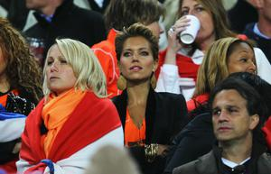 Sylvie Van der Vaart, wife of Rafael Van der Vaart of the Netherlands enjoys the atmosphere ahead of the 2010 FIFA World Cup South Africa Final match between Netherlands and Spain at Soccer City Stadium on July 11, 2010 in Johannesburg, South Africa