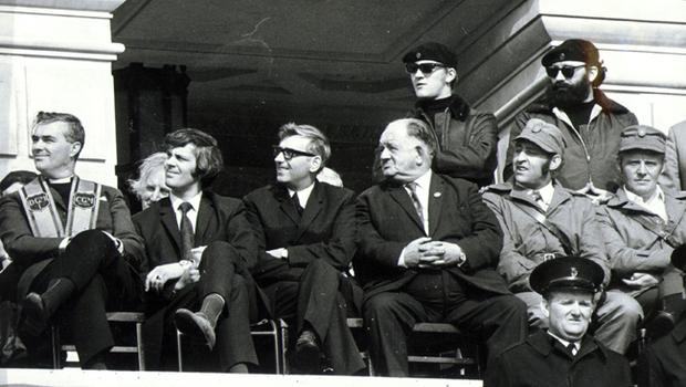 Reverend Martin Smyth and Billy Hull with UDA leaders.  1972