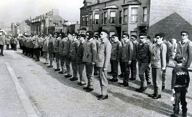 UDA men line up for inspection at Bloomfield before the march.  30/09/72