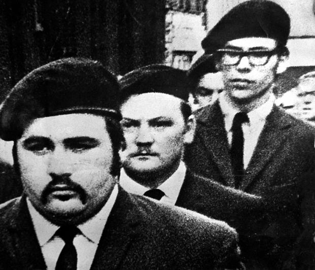 Martin Meehan (centre) with Gerry Adams at a funeral in Belfast in 1971 of a Belfast IRA commander.