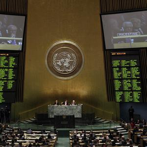 Voting in the United Nations General Assembly on recognition of a Palestinian state (AP)
