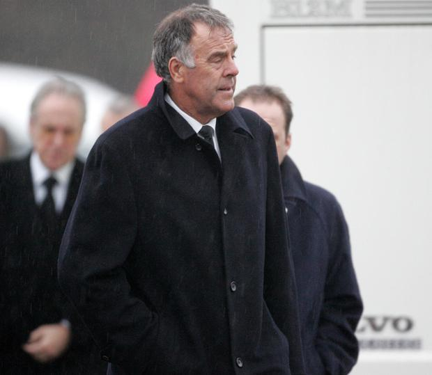 Mike England at George Best's funeral