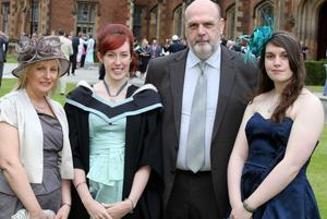 Graduations at Queen's University in Belfast.  Laura Shearer(second from left) from Castlereagh who graduated with a BA Hons with a Mayor in Film Studies and a Minor in English Literature pictured with(left to right) her mother Ruth, father Norman and sister Jill.