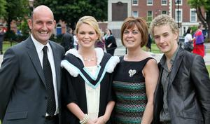 Graduations at Queen's University in Belfast.  Ciara McGuigan(second from left) from Dessertmartin who graduated with a BA Hons in Drama with(left to right) her father Gerard, mother Brigid and Tom Hudson.