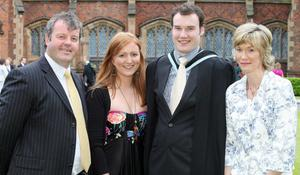 Graduations at Queen's University in Belfast.  Neil Ferguson(second from left) from Holywood who graduated with a Masters in Electrical and Electronic Engineering pictured with(left to right) his father Peter, Deborah Johnston and his mother Lucia.