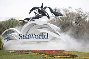 The sign at the entrance to SeaWorld February 24, 2010 in Orlando, Florida.