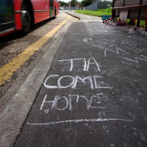 Messages at a bus stop near the home of Christine Sharp, grandmother of Tia Sharp, who went missing last Friday