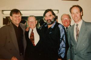 Tommy McCaughran with Alex Higgins, George Best  and Alex's father