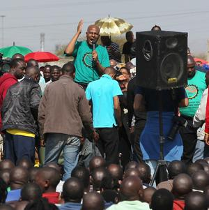 A union leader addresses workers at the Lonmin mine near Rustenburg, South Africa (AP)