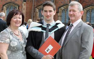 Graduations at Queen's University Belfast.  Daniel Kennedy(centre) from Glengormely who graduated with a BA Hon Mayor in History and Minor in Sociology with his mother Maureen and father Carl.