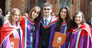 Graduations at Queen's University Belfast.  Left to right.  Alice Johnson from Randalstown, Elaine Farrell from Sligo, Shaun McDaid from Milford, Claire Rush from Whitehead and Mary Clarke from Newry who all graduated with a PhD in History.