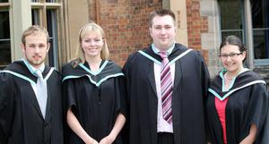 Graduations at Queen's University Belfast.  Left to right.  Stewart Blair from Larne, Amanda Storey from Bangor, Matthew Corbett from Eglington and Ruth Spratt from Bangor who all graduated with a BSc Hons in Biological Science.