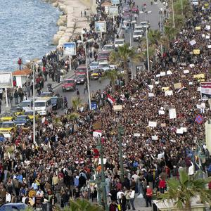 A huge crowd demonstrates in the Egyptian Mediterranean port city of Alexandria which is a stronghold of the Muslim Brotherhood (AP)