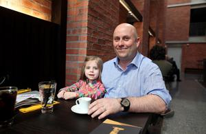 Eamonn McGee with his daughter Clodagh aged 4 in the MAC