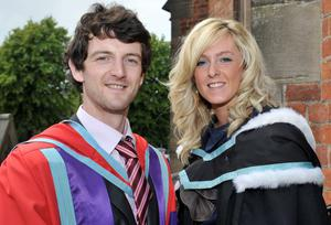 Emma Mallon, from Orchardville in South Belfast, graduated from Queen's University with a BA in Liberal Arts.  Supporting her through the recent death of her mother, and graduating with her today was her cousin Paul Barr, who received a PhD in Public Health.